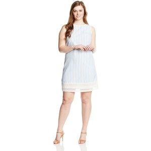 London Times Women\'s Plus-Size Seersucker Shift Dress with Lace ...