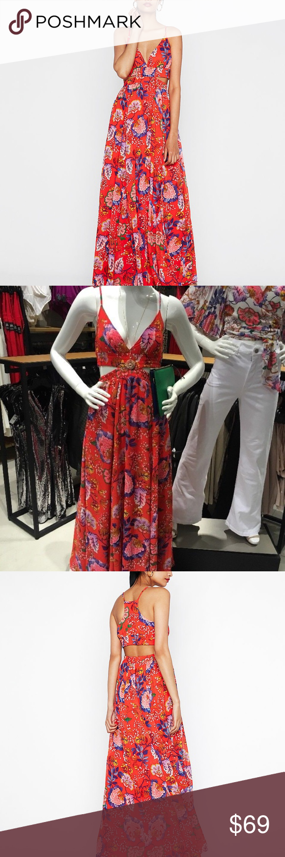 Nwt express floral side cutout maxi dress printed boutique my
