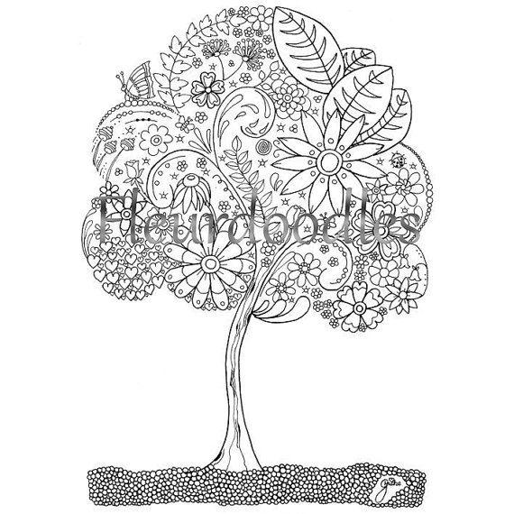 doodle baum malseite f r erwachsene malseite zum von fleurdoodles fleurdoodles pinterest. Black Bedroom Furniture Sets. Home Design Ideas