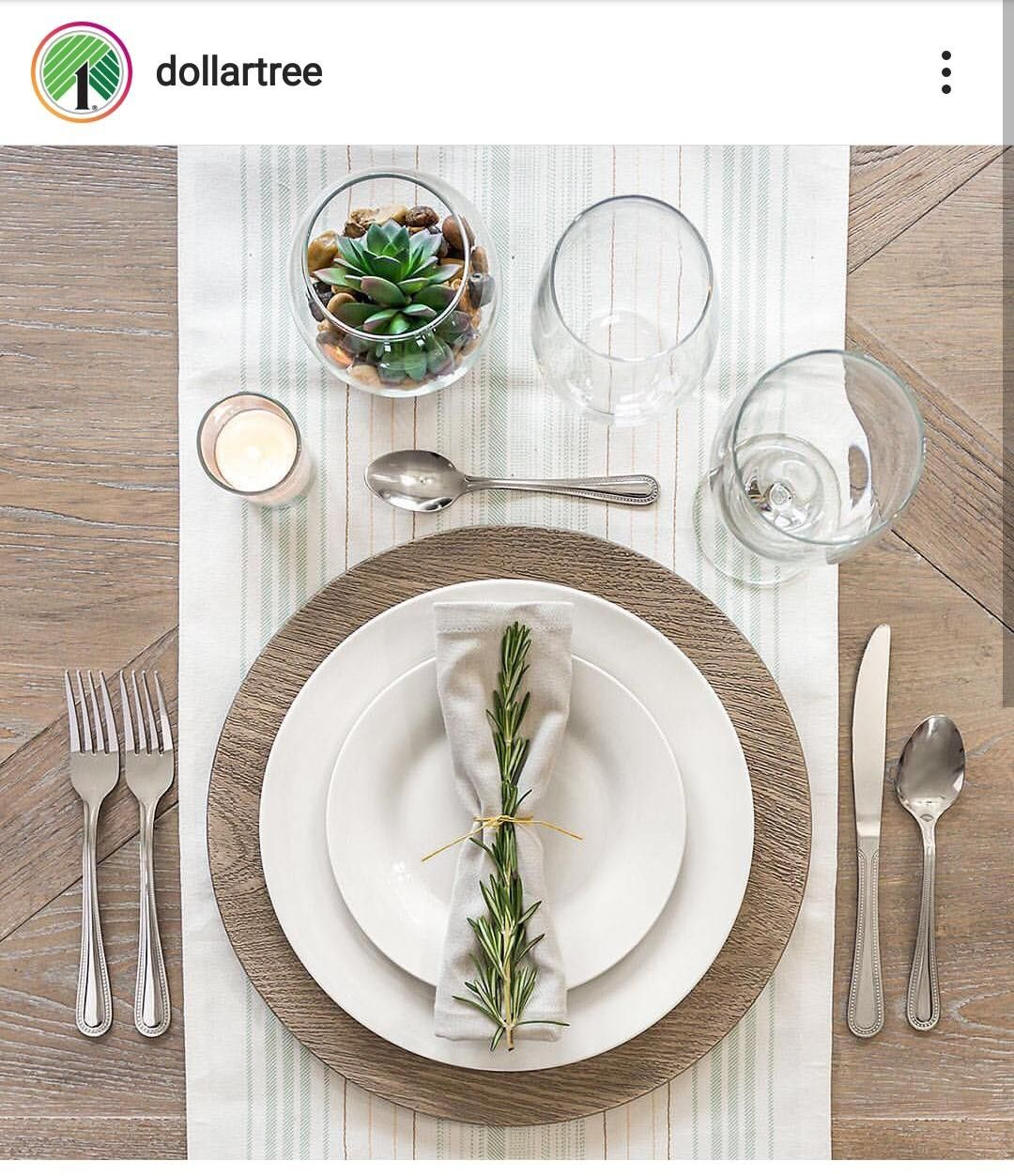 Faux Wood Chargers From Dollar Tree Dinner Table Setting