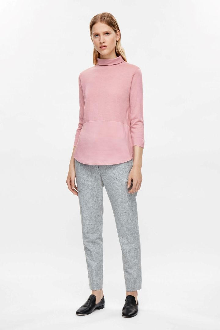 a0d14824a16 COS image 6 of Silk panel high-neck jumper in Pink   Knit it up ...
