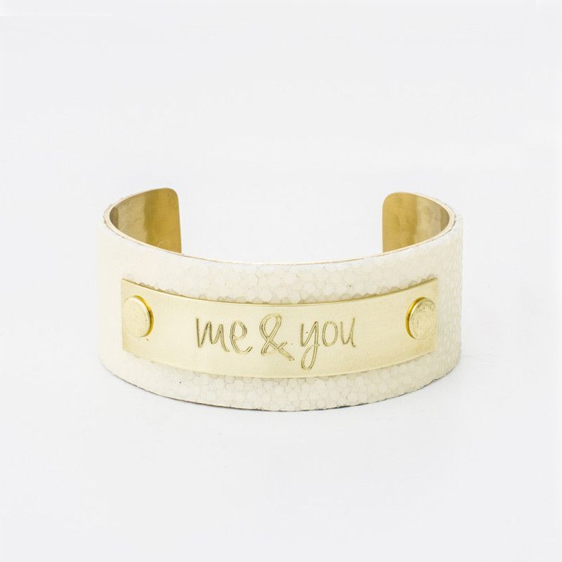 """1.0"""" Polished Ivory Stingray with Gold Plate - Always and Forever Font"""