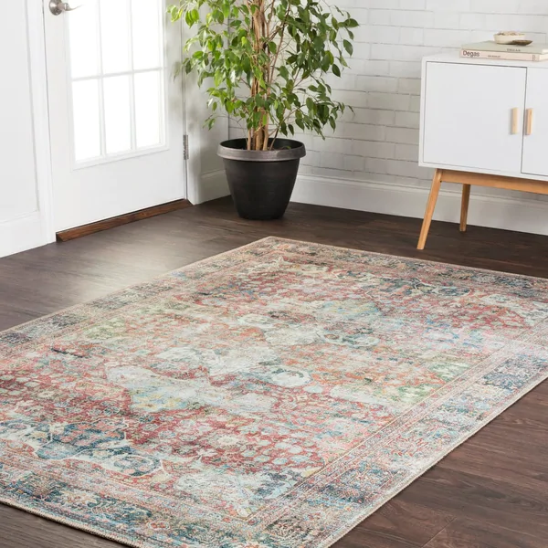 Traditional Distressed Red Blue Printed Area Rug 7 6 X 9 6 7 6 X 9 6 Brick Multi Alexander Home In 2020 Area Rugs Beige Area Rugs Rugs