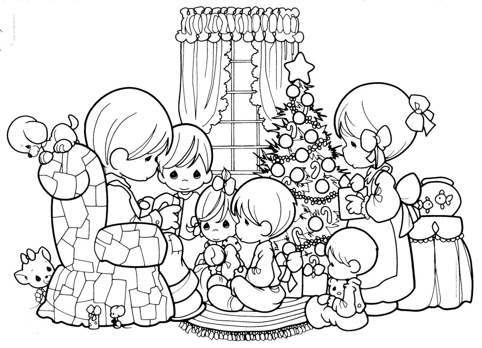 Precious Moments Family Christmas Scene Coloring Sheet