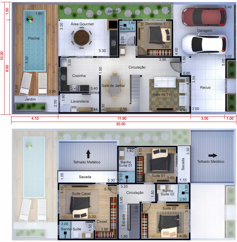 Planta de sobrado com 4 quartos planta para terreno 10x20 for Casa moderna 10 x 20