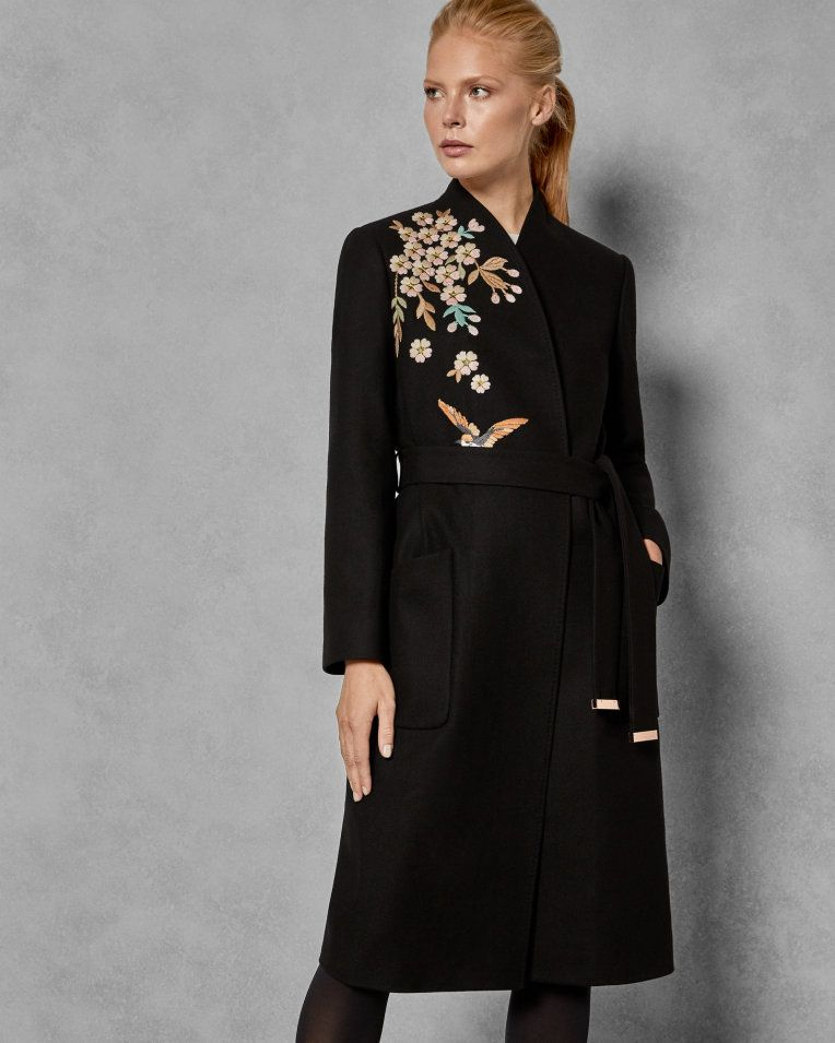 7ab9d32b573 Graceful embroidered wool coat - Black | Jackets And Coats | Ted Baker