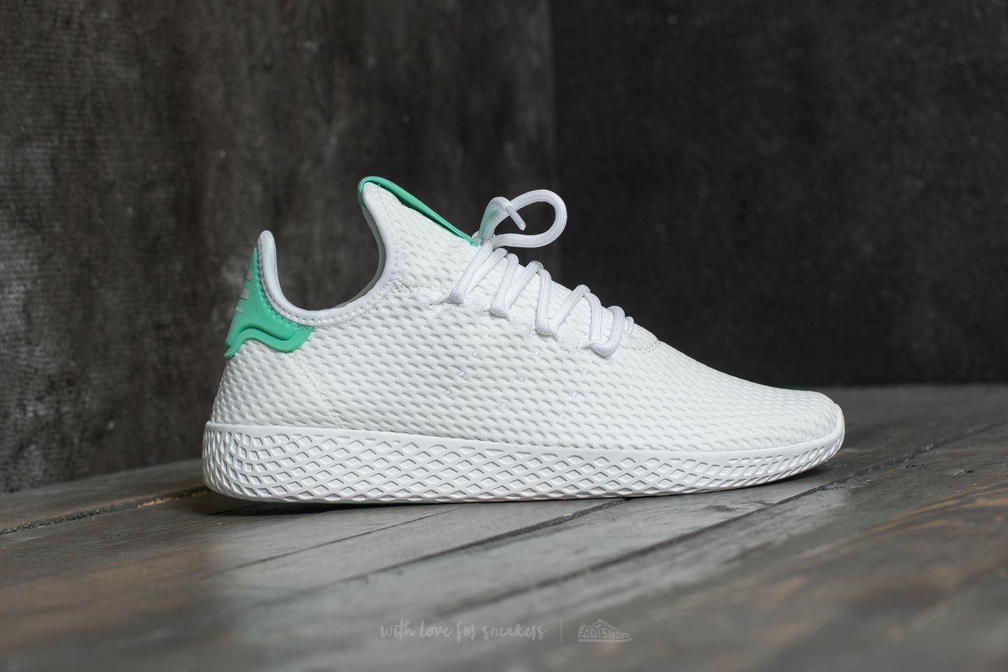 0e1da27221f adidas Pharrell Williams PW Tennis HU Ftw White  Ftw White  Green Glow at a