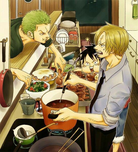 zoro, sanji, luffy, cooking, food, eating, funny, the monster trio