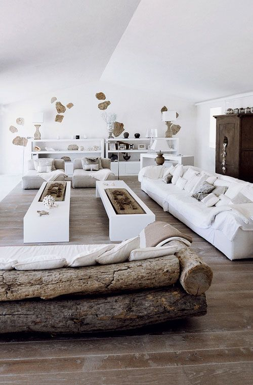 COUCH Aus Holzstämmen ♂ Neutral Interior Design Home Living Room Area  Family In Sardinia Island.old Reclaimed Wood, White Every Where, Concrete  On Floors, ...