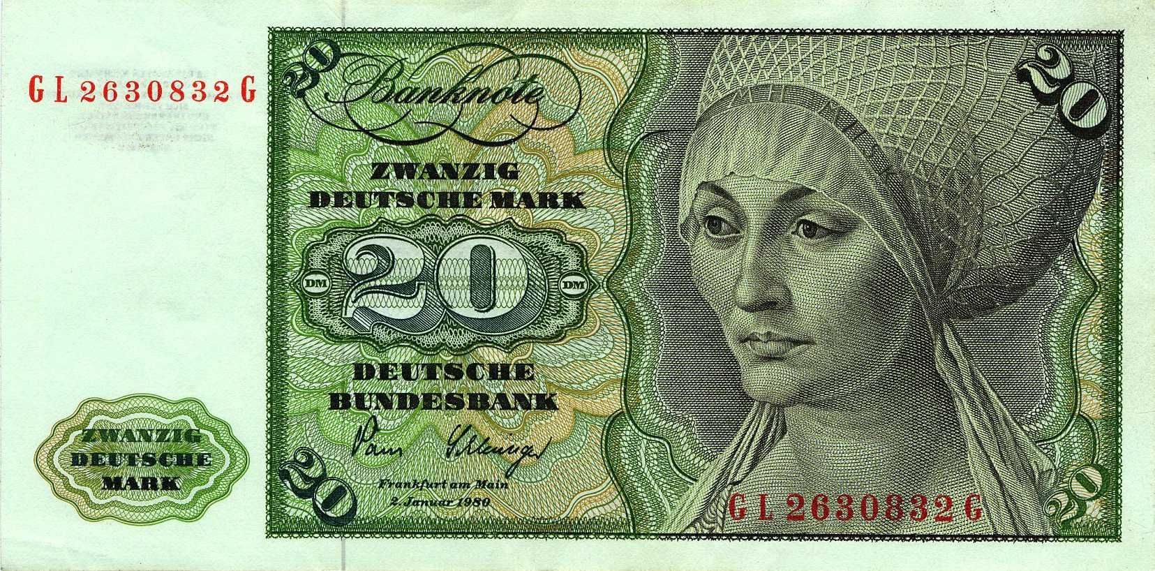 Banknote 20 Deutsche Mark Tucher 1980 Deutsche mark