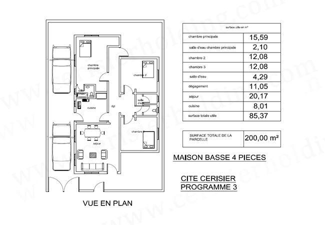 :::Plans de dimensions pour la Cité Cerisier Programmes 2 et 3::: | Vue en plan, Programme
