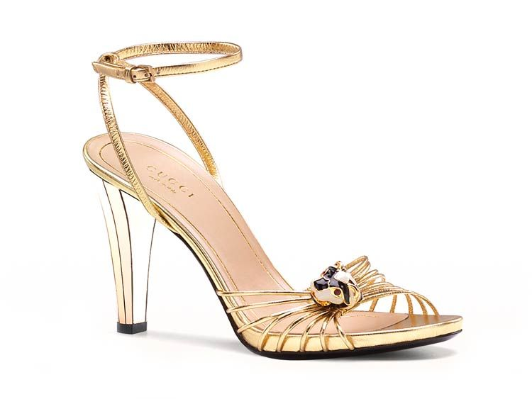 99a204c3f Gucci Italian Gold Leather Sandals with mirror heel | Shoes ...