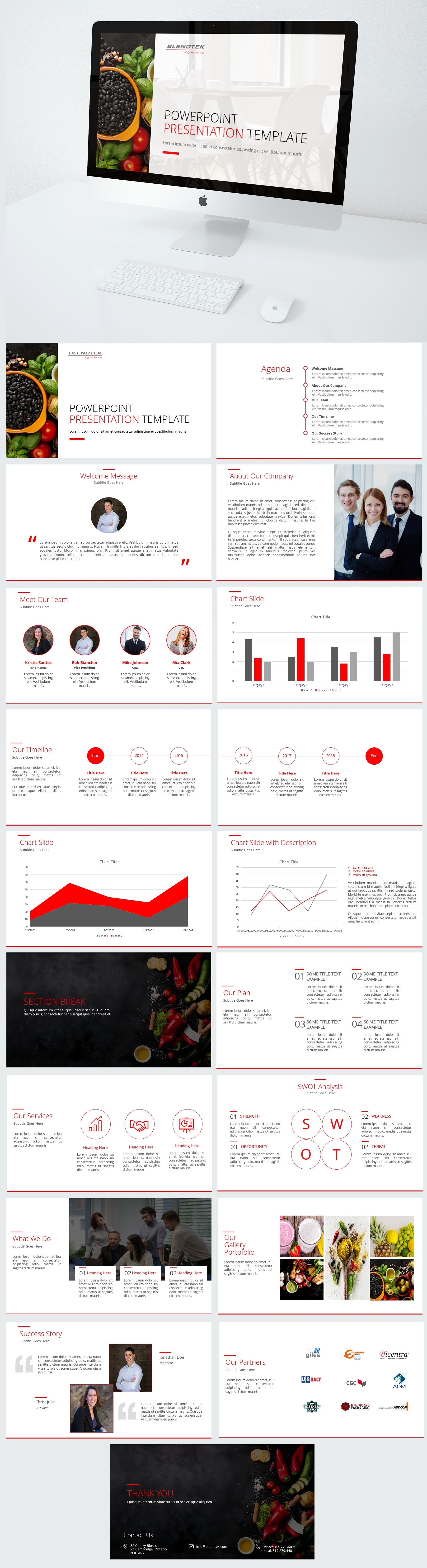 innovative food company clean corporate presentation template, Powerpoint templates