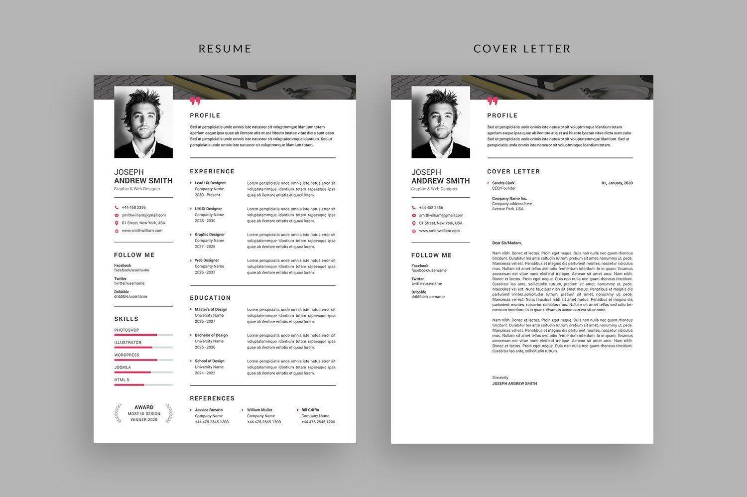 Resume Cv Ad Affiliate Inch Paper Size Bleed Resume