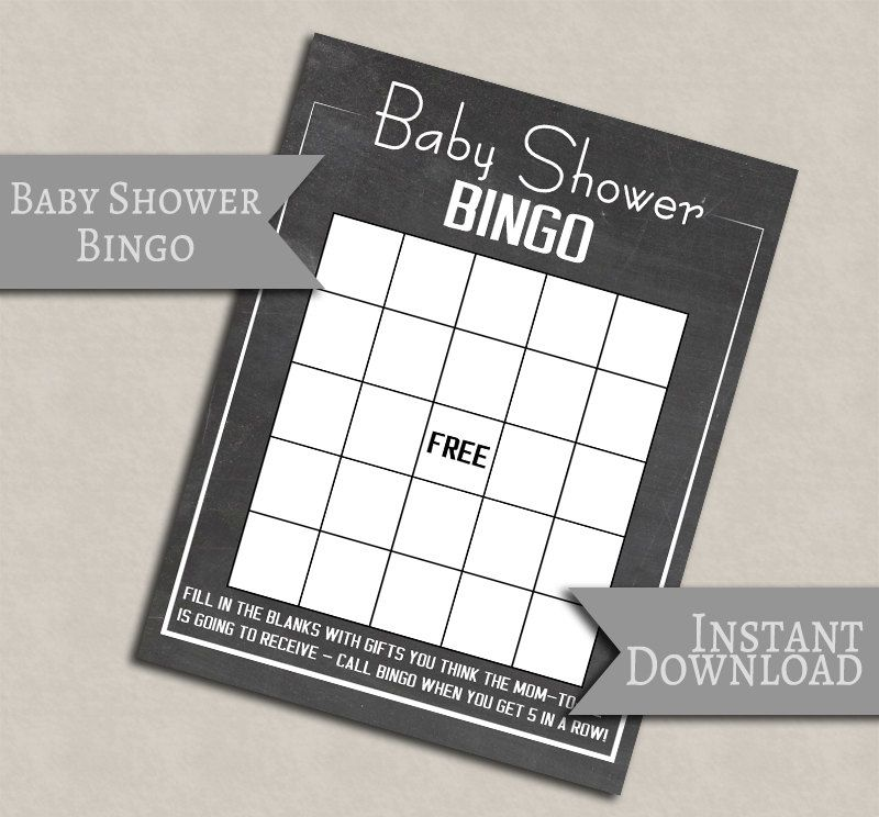 Baby Shower Bingo, Chalkboard Printable baby games, printable games baby showers, baby girl shower, baby boy printable party games S1E1 by YouGrewPrintables on Etsy