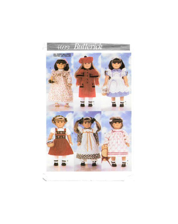 Butterick 4699 18 Inch Doll Doll Clothes Nightgown Dress Pinafore ...
