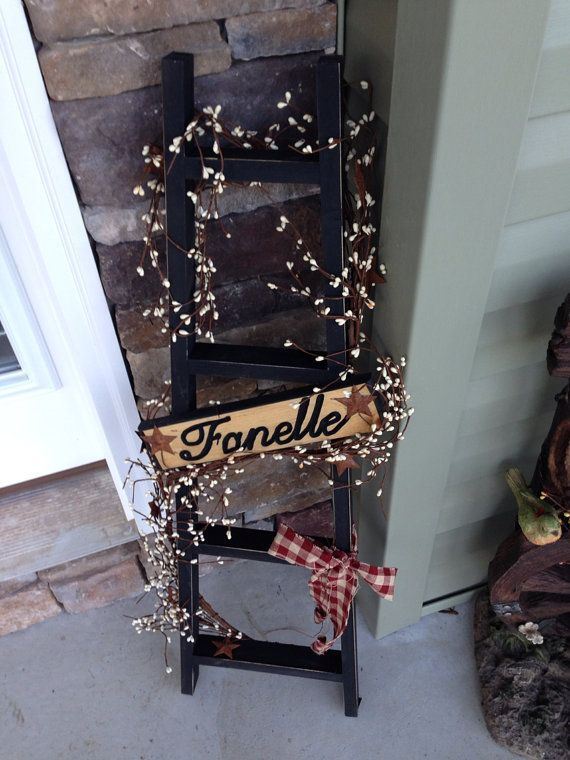 Personalized Primitive Ladder Home Decor By Connorshomedecor 25 00