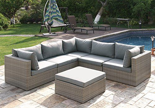 1perfectchoice 6 Pcs Outdoor Patio Pool Lshaped Sectional Sofa Set Ottoman Tan Rattan Wicker For More Patio Sofa Set Patio Sectional Conversation Set Patio