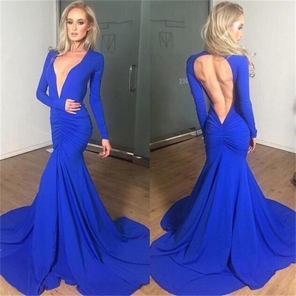 Blue Open Back Deep V Neck Long Sleeves Mermaid Evening Prom Dress ...