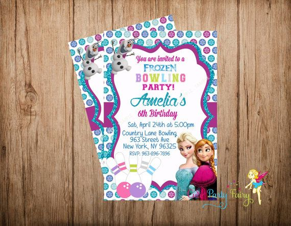 Hey, I found this really awesome Etsy listing at https://www.etsy.com/listing/216805051/frozen-bowling-party-invitation-disney