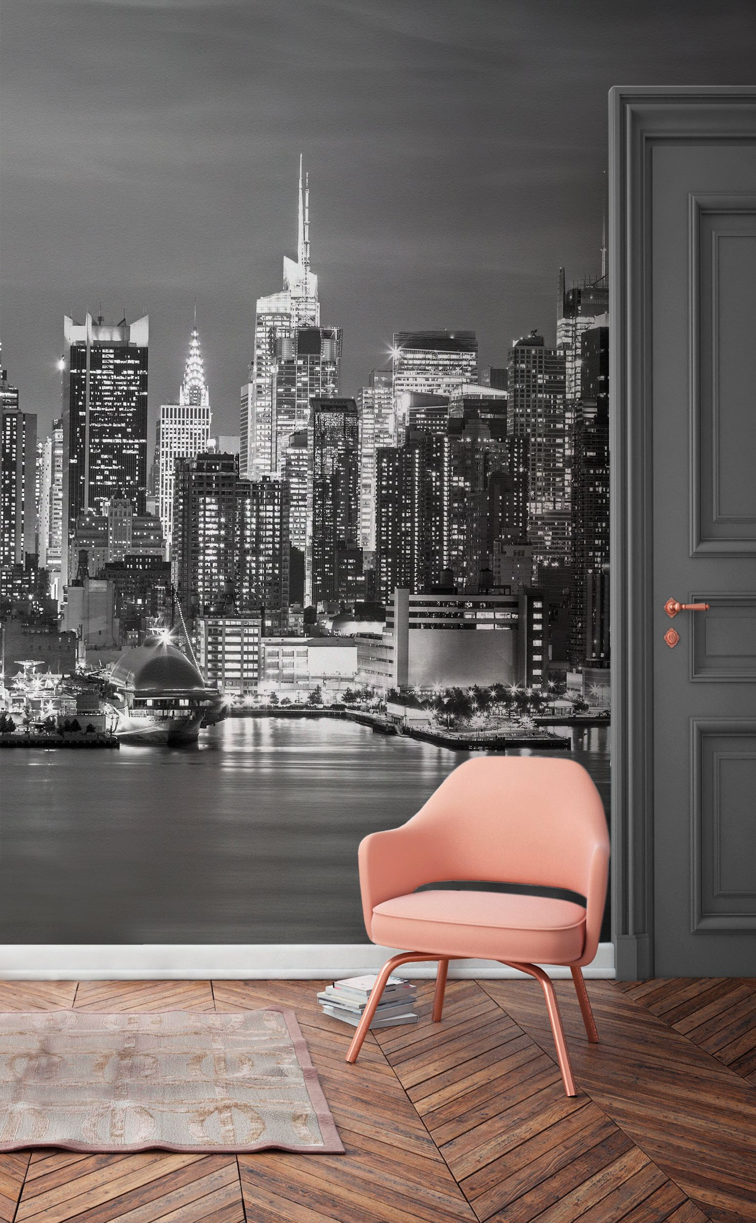 This New York Wallpaper Mural Captures The Glitz And Glamour Of Famous Skyline Ling Lights Contrast Beautifully Against Moody Grey Sky
