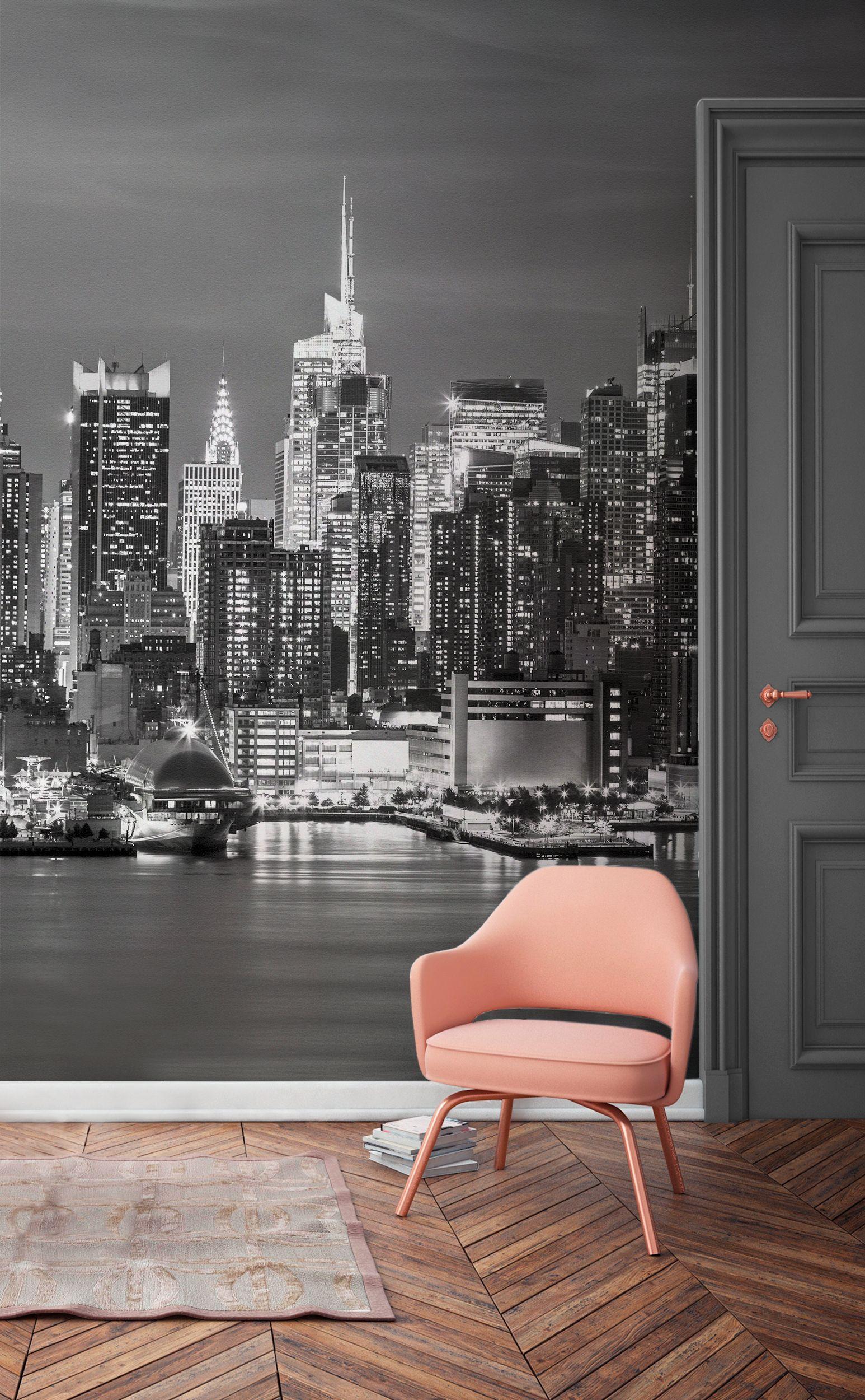 Greyscale New York Landscape Wallpaper Mural New York Bedroom