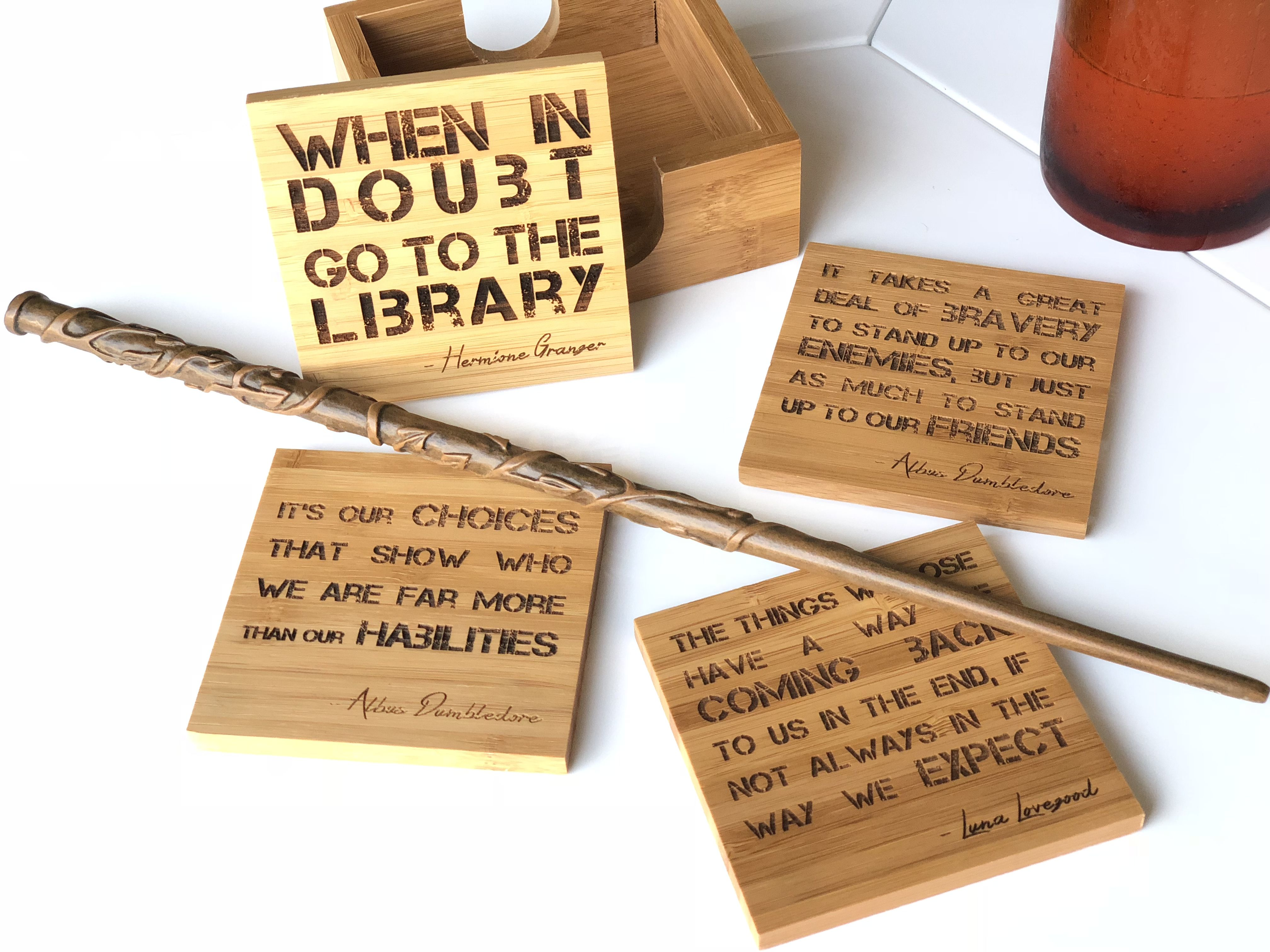 Harry Potter Quotes Custom Engraved Coaster Set With Holder 20 To Choose From Make Your Own Engraved Coasters Harry Potter Quotes Custom Coasters