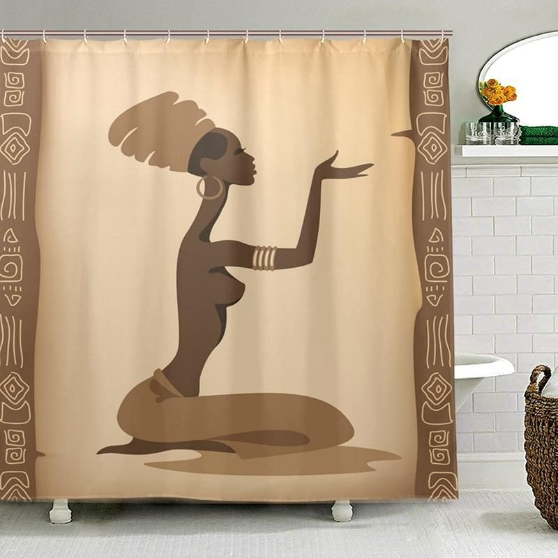 Eco Friendly African Women Shower Curtains Waterproof Polyester