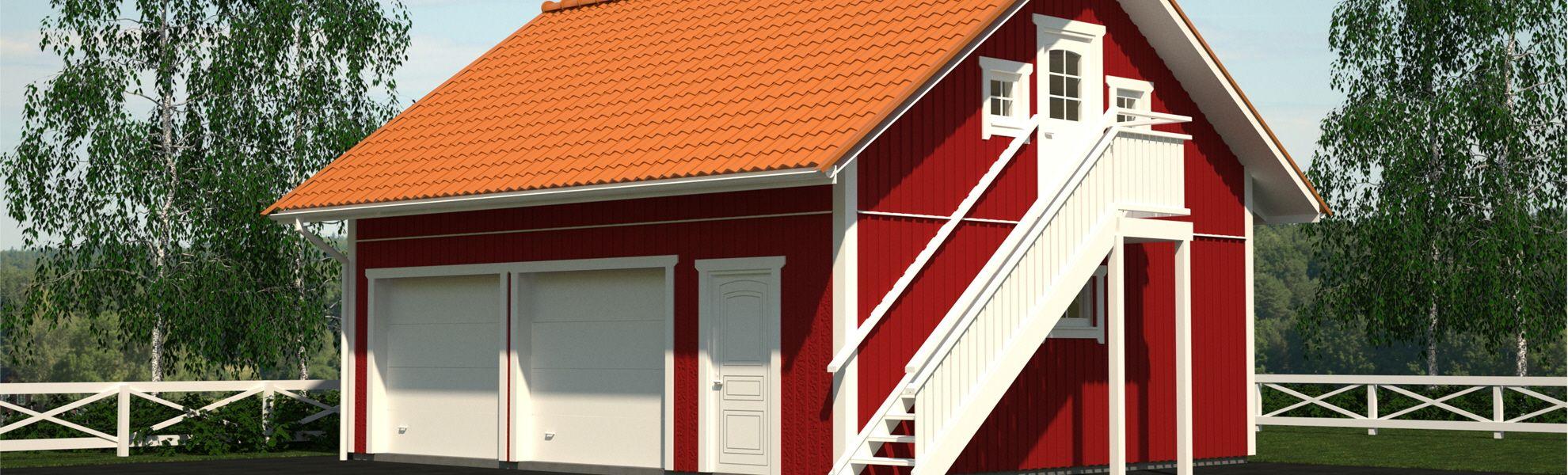 Garage med inredningsbar vind Garage