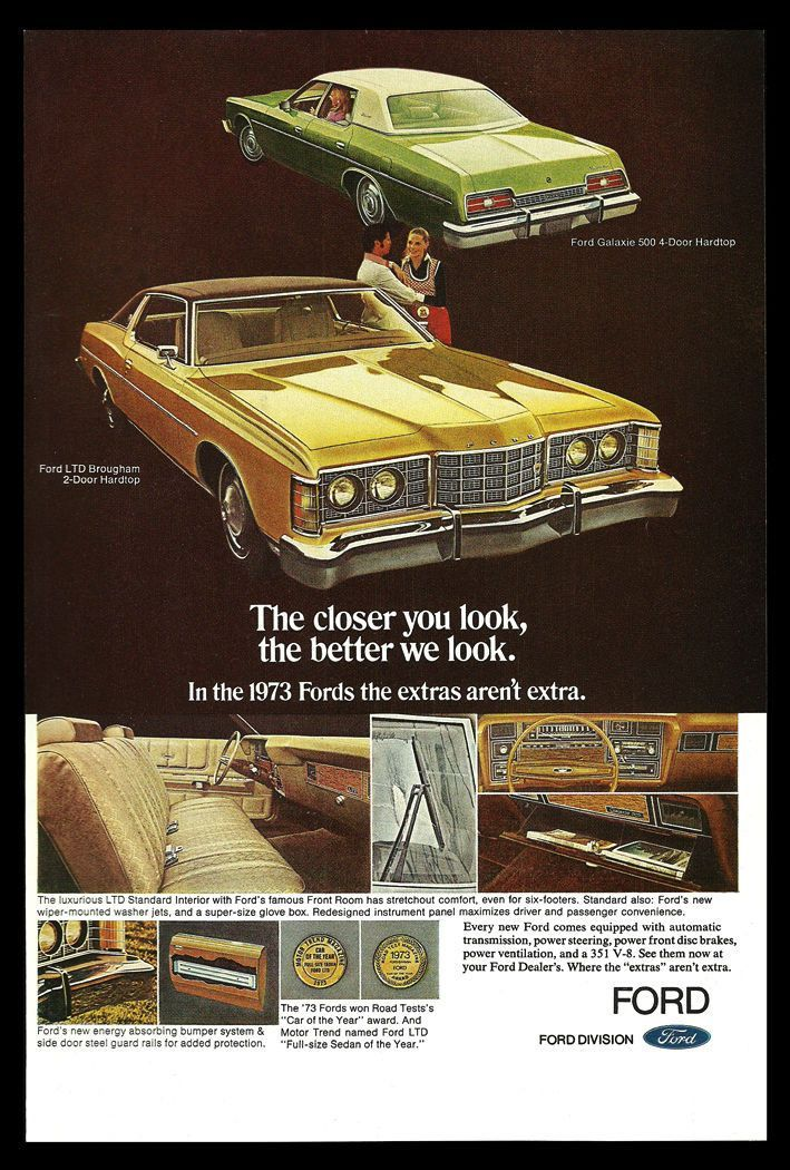 73 Ford Ltd : Hardtop, Galaxie, Brougham, Automobile, Advert, Galaxie,