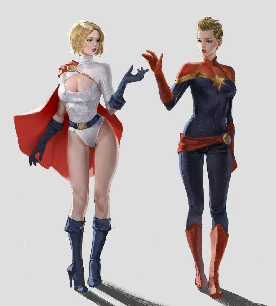 supergirl meets captain marvel. | dc comics supergirl | power girl