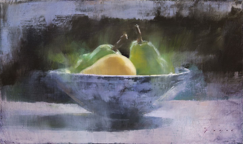"""""""Pears and Blue Bowl"""" Douglas Fryer 9x14.5 oil on panel http://ift.tt/1M7e4mL"""
