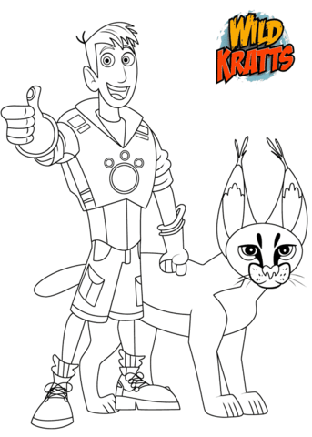 Martin Krat And Caracal Coloring Page Wild Kratts Wild Kratts Birthday Party Wild Kratts Party