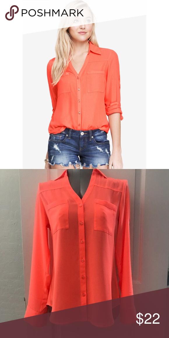 6c5419380a69 Express Portofino Shirt in Neon Orange Gorgeous