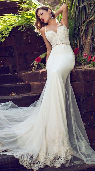 Julie Vino Sheath Wedding Dress With Spaghetti Straps Sweetheart Neckline Sheer Lace Corset Bodice