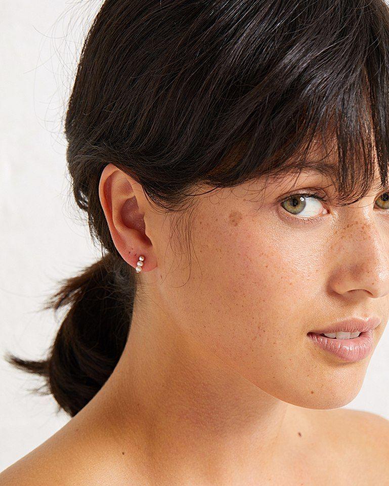 d22091a43 Ramona Pearl & Sphere Row Silver Stud Earrings   Oliver Bonas