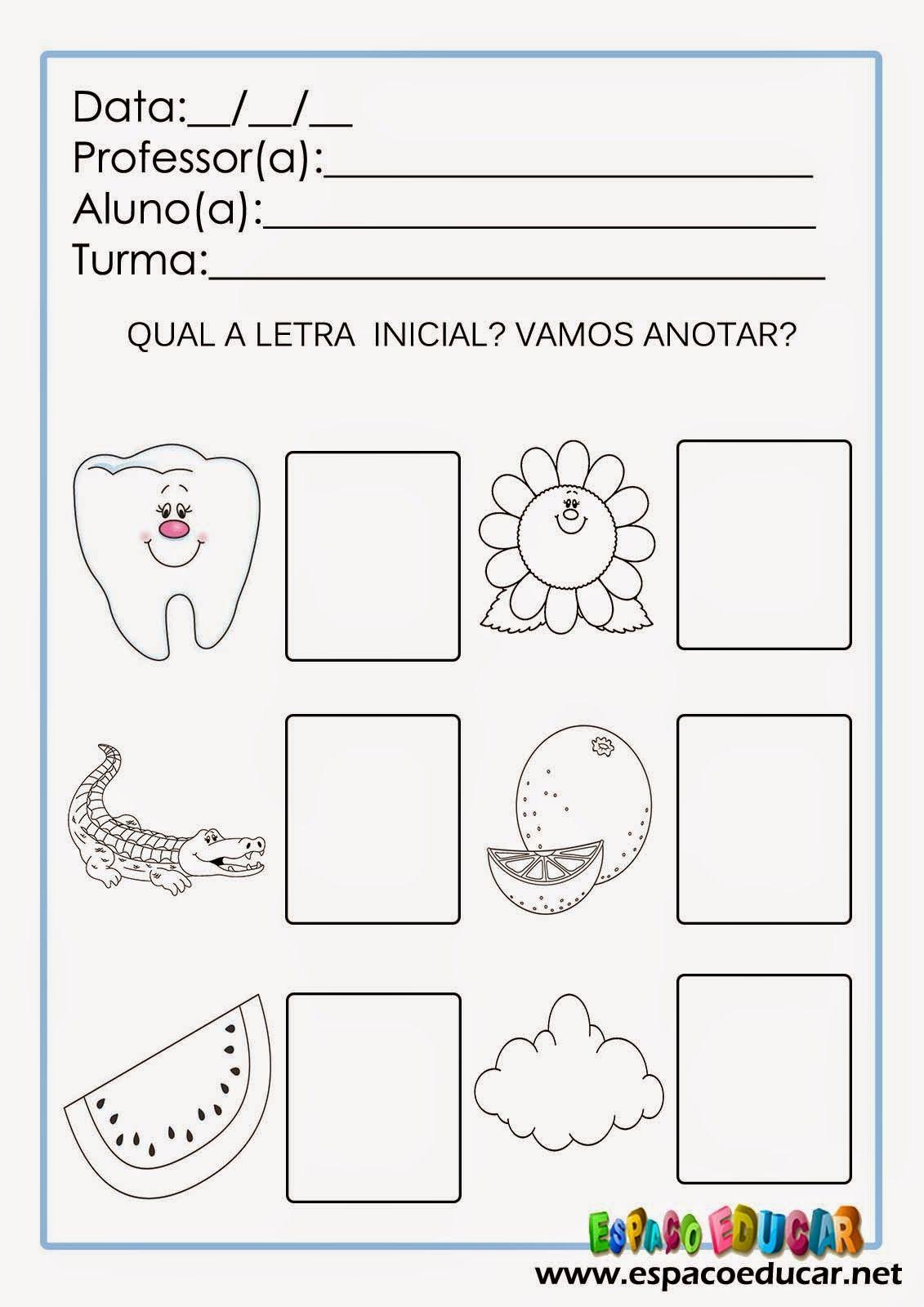 Atividades Alfabetizacao Som Inicial Letras Imprimir Alfabeto