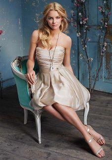 A-Line Strapless Sweetheart Short Length Luminescent Chiffon Bridemaid Dress Style 9081