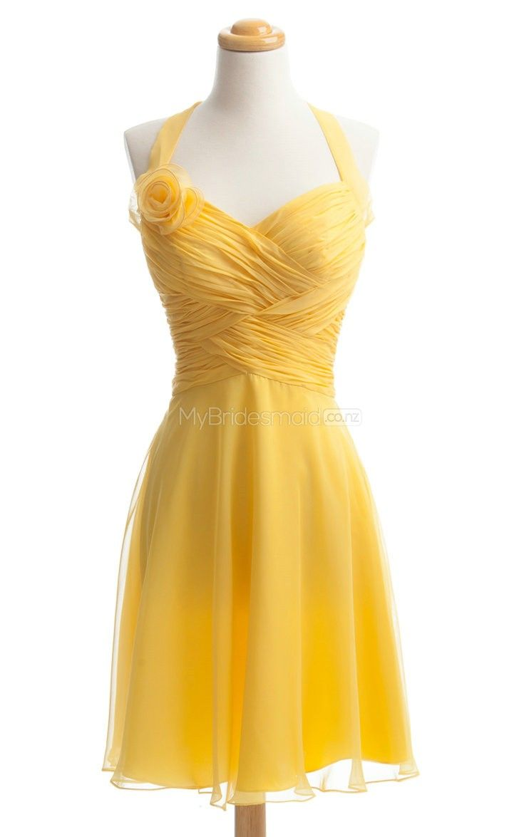 Luxurious yellow short bridesmaid dressshort bridesmaid dresses