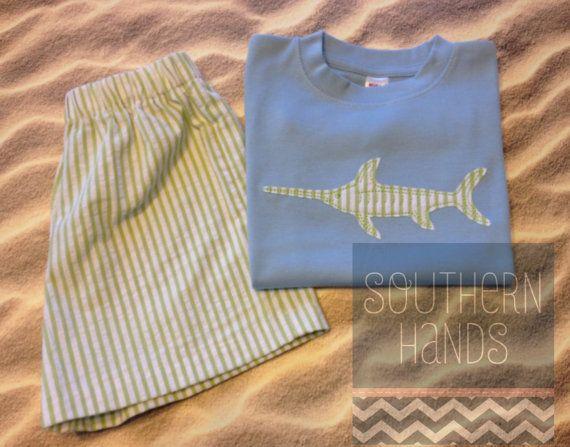 Swordfish Seersucker Short Set with Optional Personalization on Etsy, $43.00
