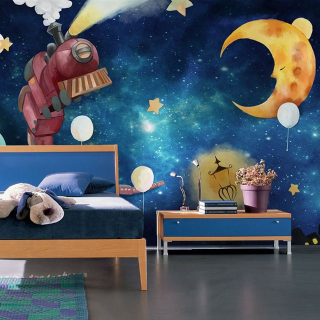 Blue Planet Star Night View Wallpaper Children S Room Boys Bedroom