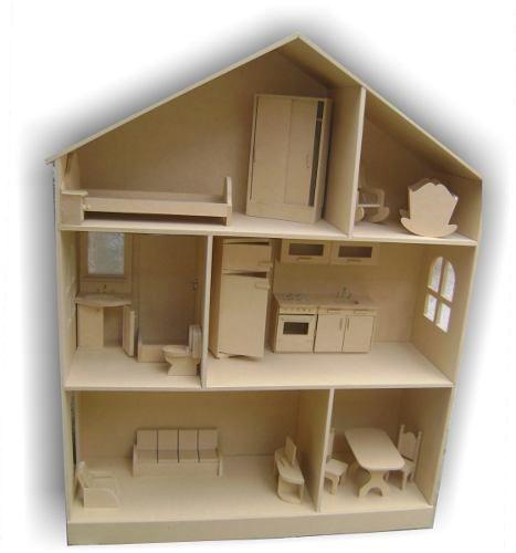 Casita de mu ecas barbie con muebles lista para pintar casitas de mu ecas casa de - Como hacer una casa de carton pequena ...