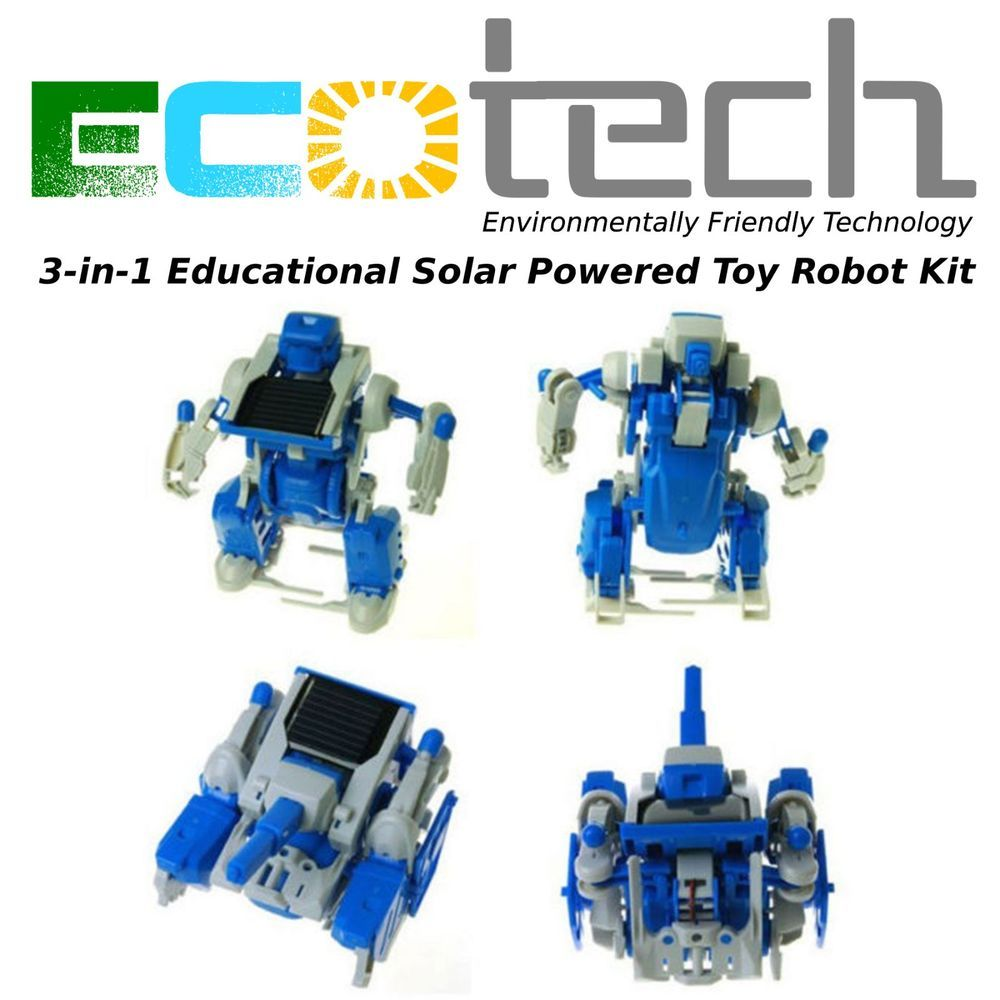 Creative 3 IN 1 Educational Learning Solar Power Robot Kit Children Kids DIY TOY