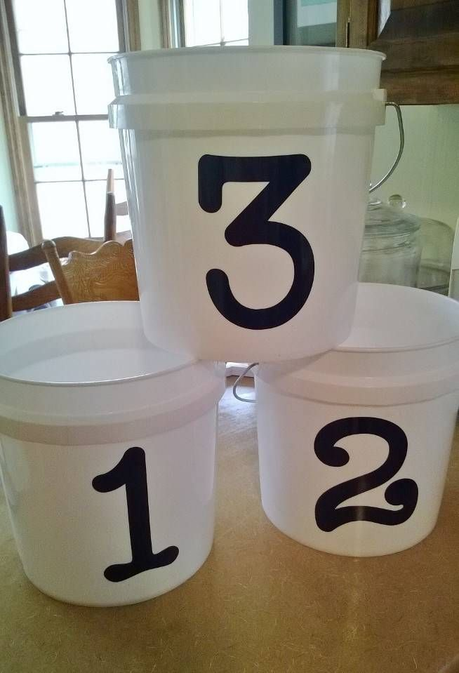 fe7859788 Awesome, cheap dugout organization for T-ball. Plastic buckets (2 gal)  $3.93 at Home Depot, vinyl number approx $2 each. Hats, gloves, etc go in  buckets.