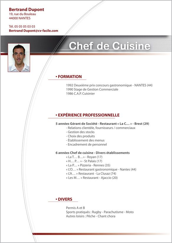 model de cv commis de cuisine