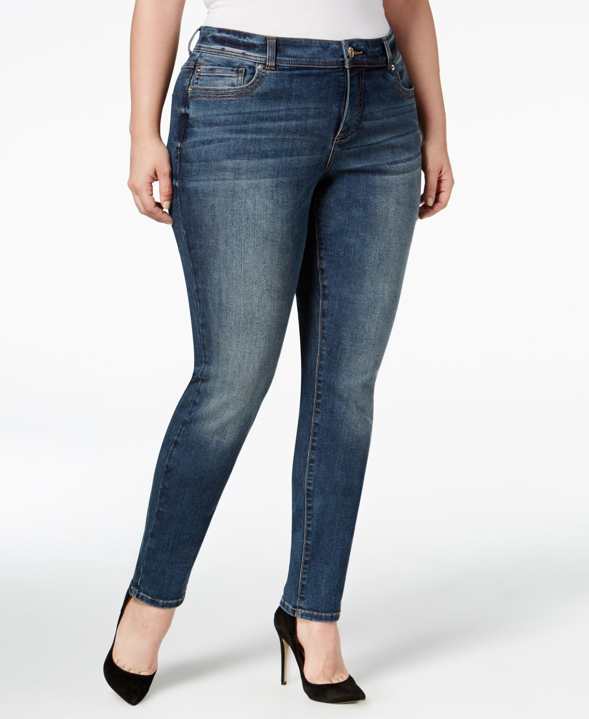 Inc International Concepts Plus Size Slim-Tech Chorus Wash Skinny Jeans, Only at Macy's