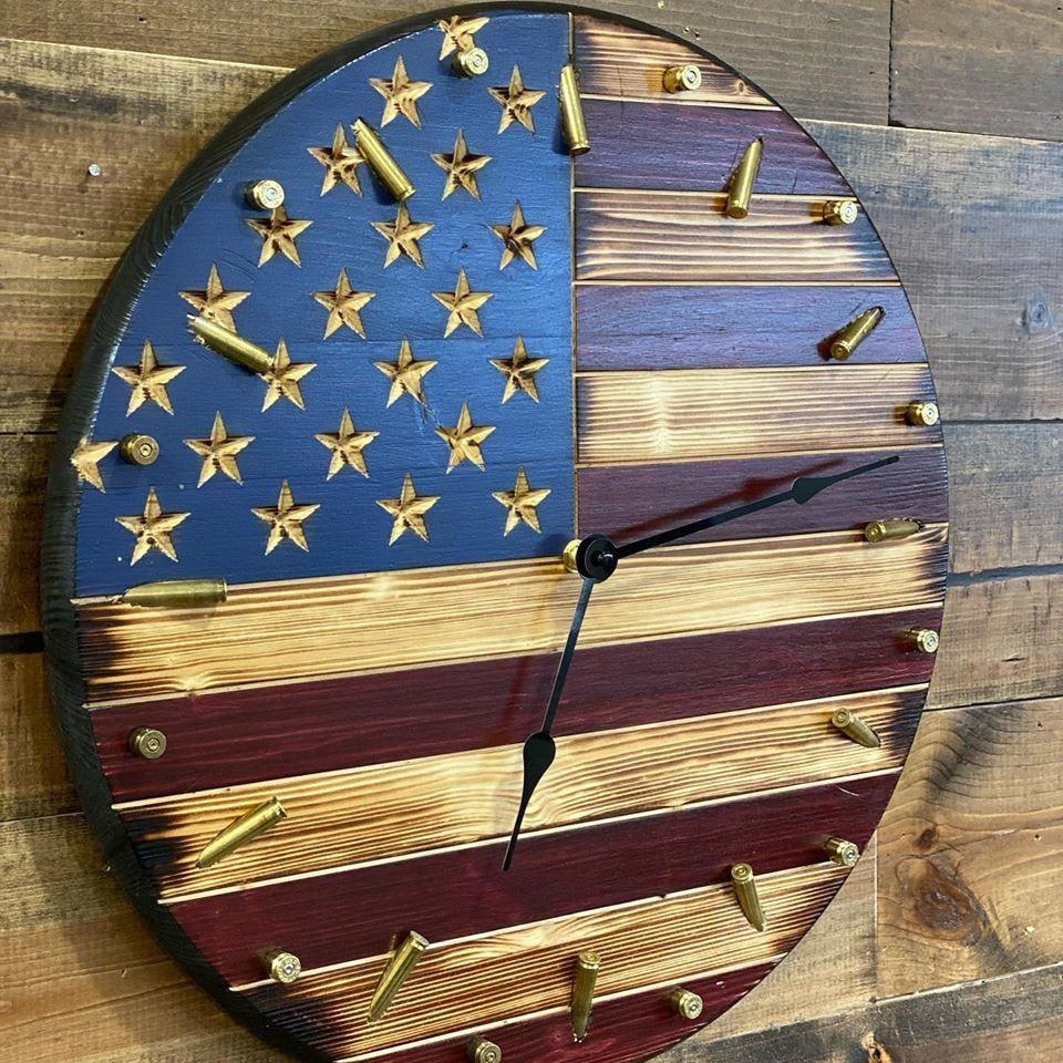 Rustic Antique American Flag Clock Patriotic Flag Bullet Etsy In 2020 Rustic American Flag Patriotic Flag American Flag