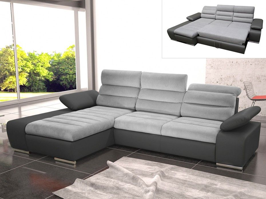 Canape D Angle Convertible En Tissu Et Simili Mirabeau Bicolore Gris Anthracite Angle Gauche Smart Living Room Outdoor Sectional Sofa Home