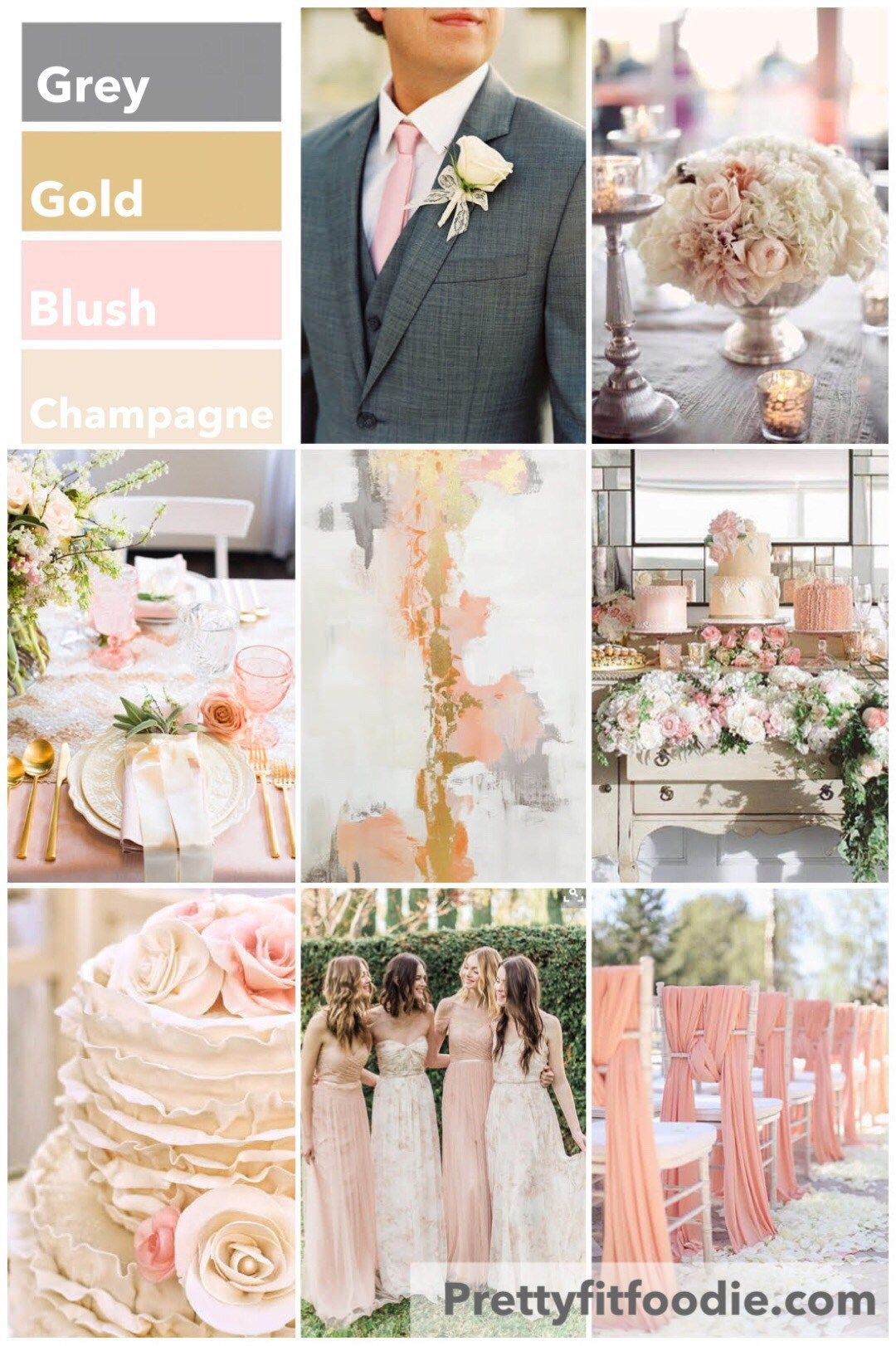 Wedding ideas blush pink  Wedding Colors of Grey Gold Blush and Champagne  Fashion