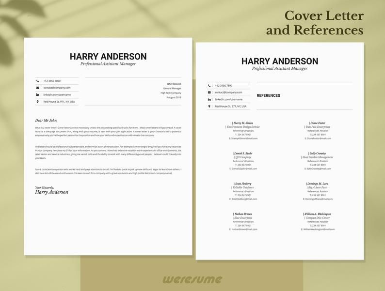 Business Resume Template For Ms Word 1 2 Pages Resume Cover